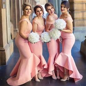 Elegant Off The Shoulder Lace Bodice Mermaid Bridesmaid Dresses