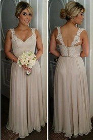 Blush Pink A-Line Long Chiffon Bridesmaid Dress With Lace Straps