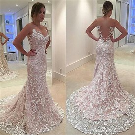 Illusion Neck Sheer Back Lace Mermaid Wedding Dress With Long Train