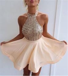 Halter Sequin Embellished Top Backless Short Cocktail Dress