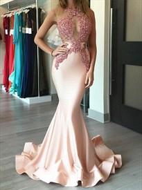 Sexy Blush Pink Sheer Illusion Bodice Mermaid Long Prom Dress