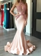 Sexy Blush Pink Sheer Illusion Bodice Mermaid Long Prom Dress
