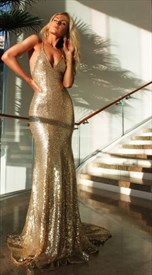 Champagne Spaghetti Strap V Neck Backless Mermaid Long Evening Dress