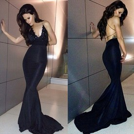 Sexy Black Embellished Spaghetti Strap Backless Mermaid Evening Dress