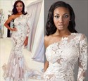 Blush Pink Lace Applqiue One Shoulder Long Sleeve Mermaid Prom Dress