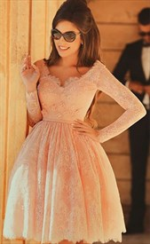 Beaded Pink V Neck Lace Long Sleeve Short Homecoming Party Dress