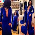 Sexy Royal Blue Deep V Neck Backless Long Sleeve Front Split Dress