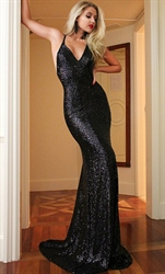 Black V Neck Open Back Sequin Mermaid Long Evening Dress