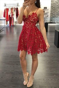 Red Lace Applqiue V Neck Spaghetti Strap Fit And Flare Party Dress