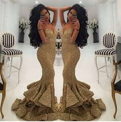 Gold Sequin Mermaid Sweetheart Ruffle Bottom Prom Dress With Split