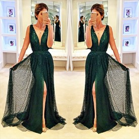 Deep V-Neck Sequin Embellished Front Split Floor Length Evening Dress