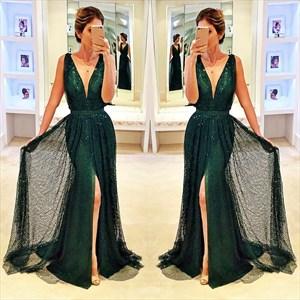 Deep V-Neck Sequin Embellished Front Split Floor Length Evening Dress