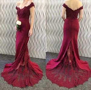 Burgundy Off The Shoulder V Neck Lace Embellished Mermaid Prom Dress