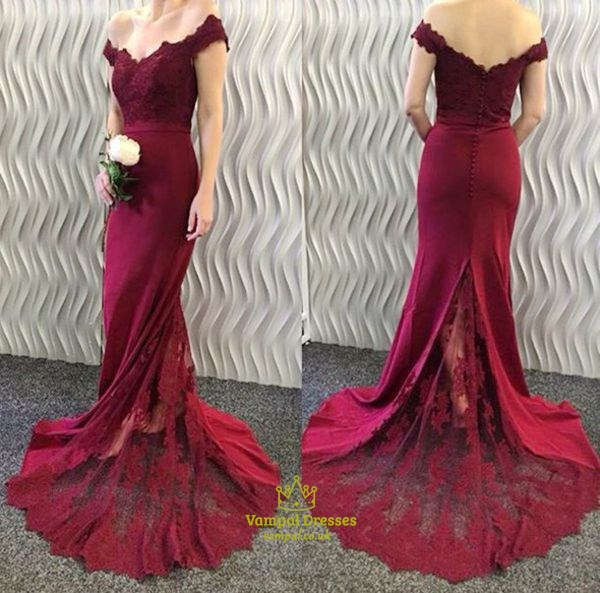 Burgundy Off The Shoulder V Neck Lace Embellished Mermaid Prom Dress