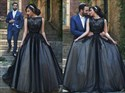 Princess Black Lace Embellished Tulle Ball Gown Formal Dresses