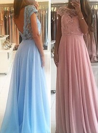 Lace Beaded Bodice Cap Sleeve Open Back Chiffon Long Prom Dress