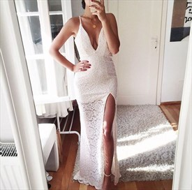 Spaghetti Strap V Neck Sleeveless Long Lace Prom Dress With Side Slit
