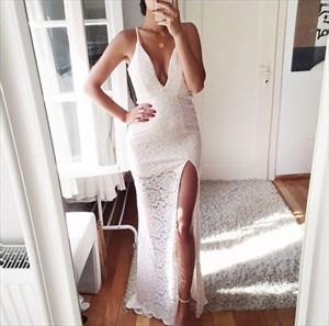 Spaghetti Strap V Neck Sleeveless Long Lace Prom Dress With Side Slit