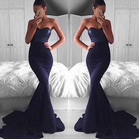 Black Strapless Sequin Bodice Mermaid Prom Dress With Long Train