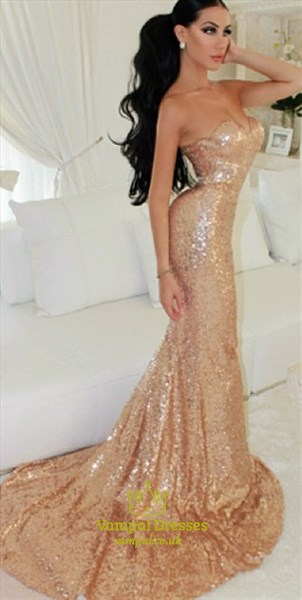 Champagne Strapless Sweetheart Sequin Mermaid Long Prom Dress