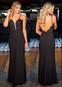 Black Spaghetti Strap V Neck Lace Applique Backless Long Prom Dress
