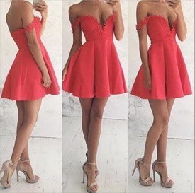 Off The Shoulder Lace Top Backless Short Skater Homecoming Dresses