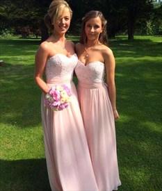 Blush Pink Lace Bodice Chiffon Skirt A Line Long Bridesmaid Dress