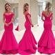 Hot Pink V Neck Off The Shoulder Backless Mermaid Evening Formal Dress