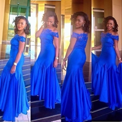 Royal Blue Off-The-Shoulder Lace Top Mermaid Bottom Long Formal Gown