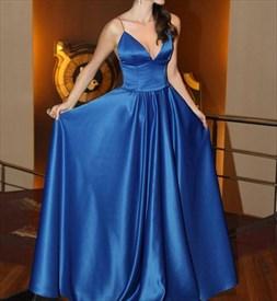 V Neck Spaghetti Strap A-Line Floor Length Bridesmaid Dress