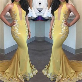 Yellow Lace Applique Halter Neck Mermaid Prom Dress With Keyhole Front