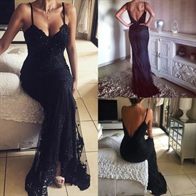 Beaded Applique V Neck Spaghetti Strap Backless Long Evening Dress