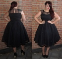 Simple Black Cap Sleeve Fit And Flare Tea Length Party Dress