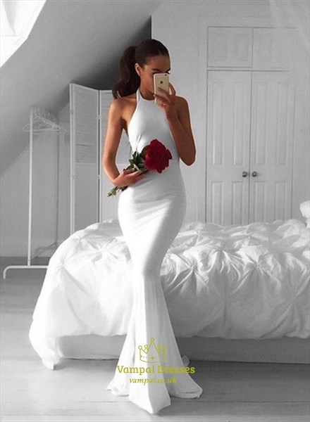 Simple White Halter Top Mermaid Open Back Floor Length Evening Gown