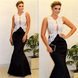 Two Tone Sheer Lace Embellished Top Mermaid Long Formal Dress