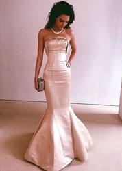 Blush Pink Strapless Sleeveless Mermaid Floor Length Evening Gown