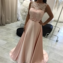 Illusion Neck Lace Bodice A Line Floor Length Maid Of Bridal Dress