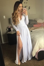 White Simple A Line Long Sleeve V-Neck Gown With Side Cutouts