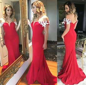 Red Lace Applique Mermaid Off The Shoulder Long Bridesmaid Dress