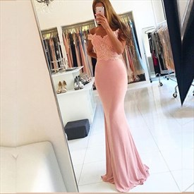 Pink Off The Shoulder Lace Embellished Top Mermaid Long Prom Dress