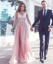 V-Neck Applique Sleeveless Lace Backless Floor-Length Dress