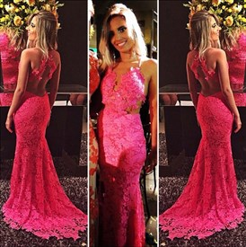 Vintage Illusion Lace Embellished Sheer Back Mermaid Prom Dress