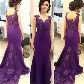 Purple Lace Applique Backless Mermaid Floor Length Prom Dress