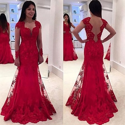 Red Long Sleeve Sheer Embellished Lace Overlay Mermaid Evening Gown