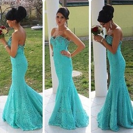 Turquoise Strapless Sweetheart Beaded Neck Lace Mermaid Prom Dress