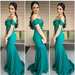 Teal Off The Shoulder Sequin Bodice Mermaid Long Bridesmaid Dresses
