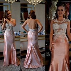 Pink Sheer Illusion Lace Bodice Open Back Mermaid Long Prom Dress