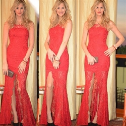Red Sleeveless Lace Overlay Sheath Long Prom Dresses With Split Front