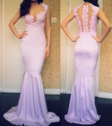 Lavender Sweetheart Lace Applique Prom Dress With Sheer Back