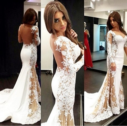 Sweetheart Lace Applqiue Open Back Sheer Long Sleeve Prom Dress